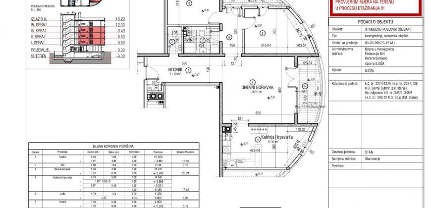 Prostran trosoban stan 102m2 sa opremljenom kuhinjom, Stup