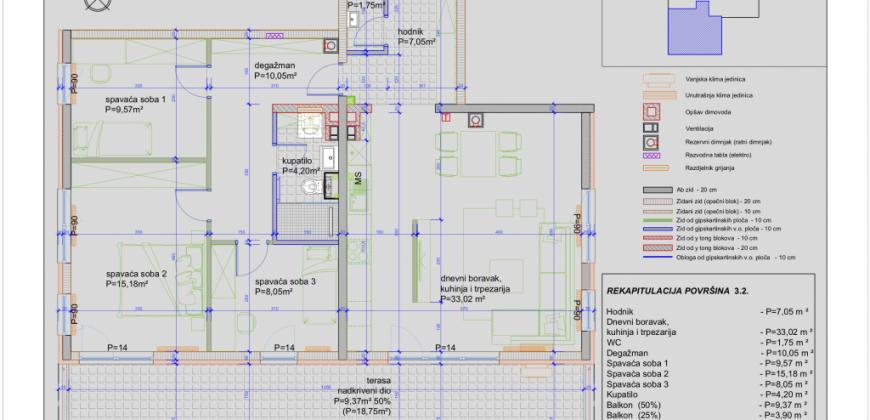 NOVOGRADNJA! Četverosoban stan sa terasom od 34m2, na 3. spratu, Šip / Bare / Centar