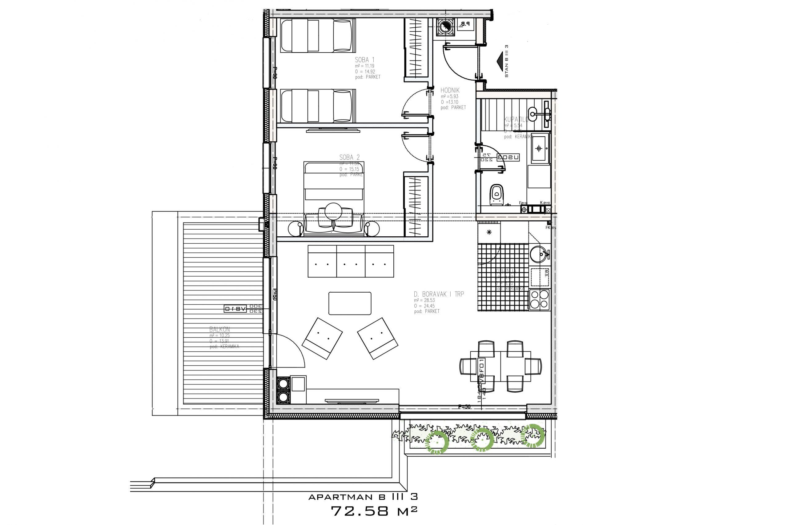 Trosoban apartman sa pogledom na stazu, Bjelašnica