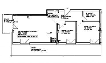 Trosoban stan 83m2 sa velikom terasom i balkonom, Stup